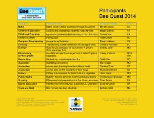2014 Bee Quest Participant Summary revG 4_2_2014